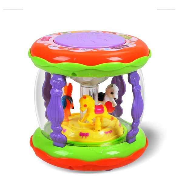 Children Hand Beat Tambourine Nursery Rhymes Music Drum Baby Multi Function Carousel Beat Drums Early Education Pounding Toys 14ll N1