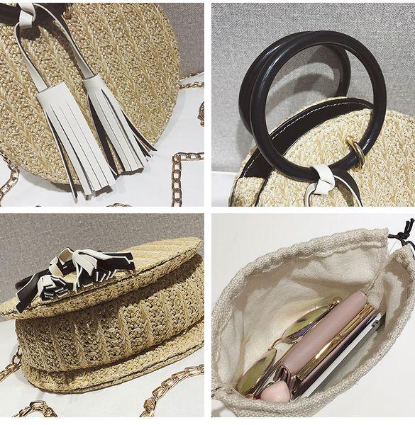 2 Bag 2019 Summer Fashion New Handbag Hand-woven Straw Female Round Phone Bag Portable Beach Bags High Quality Chain Shoulder Bag