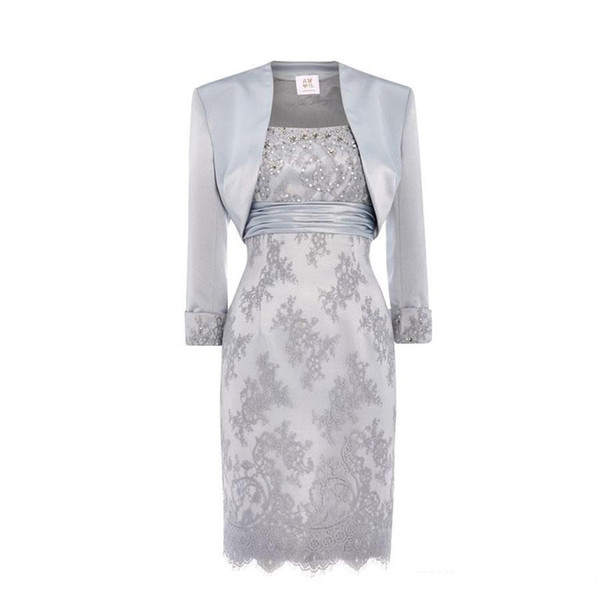 2019 Lace Mother Of The Bride Dresses Scoop Silver Sequins Beaded Satin Knee Length Mother Dresses with Long Sleeve Jacket Short Dresses