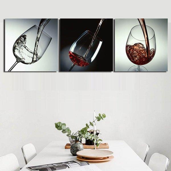 Acheter 3 Photos Combiné Toile Art Mur Décor Peinture En Bombe Rouge Vin En Verre Toile Peintures Pour Salle à Manger Décor Avec Cadre Intérieur De