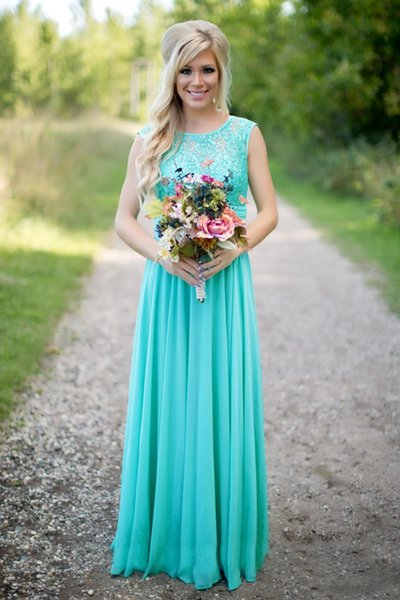 Turquoise Lace Chiffon Long Bridesmaid Dresses 2019 Scoop Neckline Floor Length Bridesmaid Gowns For Wedding Guest Dresses DH260