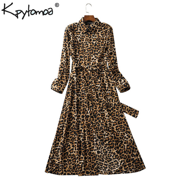 Vintage Leopard Print Sashes Long Shirt Dress Women 2019 Fashion Long Sleeve Animal Pattern Maxi Dresses Casual Vestidos Mujer Y19073001
