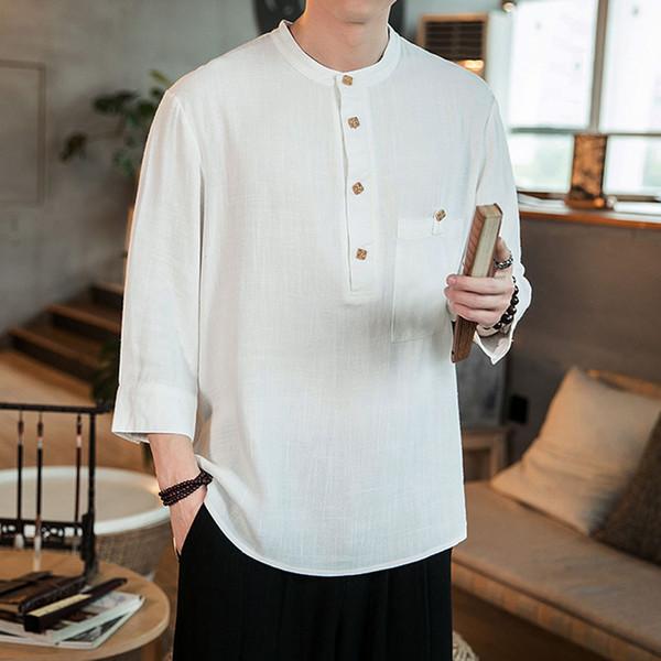 JAYCOSIN New Men shirt Plus Size Autumn Fashion Baggy Linen and Cotton 3/4 Sleeve Shirts Loose Blouse Fat chemise homme 5XL 129