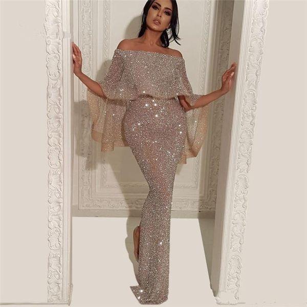 New Design Arabic Sequins Mermaid Evening Dress Split Floor Length Middle East Formal Party Prom Dresses