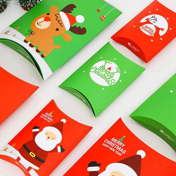 Merry Christmas Şeker Hediye Kutuları Geyik Xmas Ağacı Konuklar Yastık Şekil Ambalaj Kutuları Çerezler Hediyeler Çanta Iyilik Çocuklar Hediye Dekor