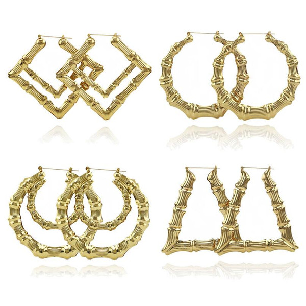 best selling 2019 Luxury Jewelry Multiple Shapes Ethnic Large Vintage Gold Plated Bamboo Hoop Earrings for Women 9 Modes free choice