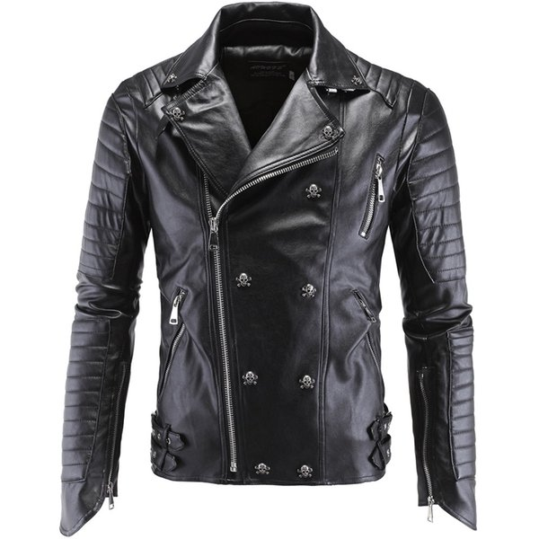 Moda erkek Kış Deri Ceketler Faux Ceket Kore Şık Slim Fit Mont Erkekler Erkekler Için Moto Kafatası Süet Ceket