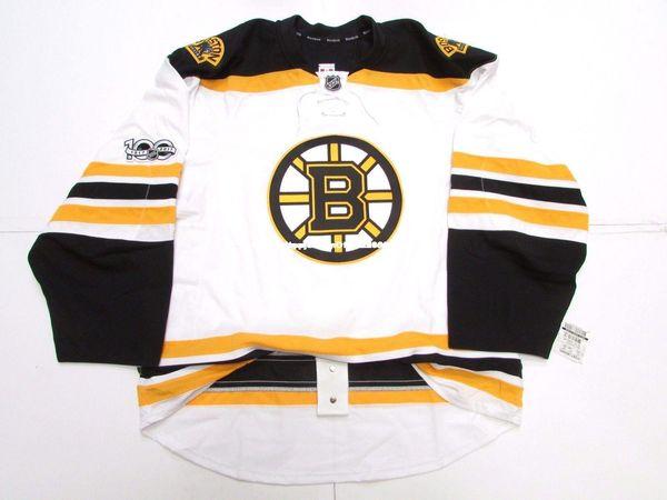 Cheap custom BOSTON BRUINS AWAY 100th ANNIVERSARY EDGE 2.0 7287 JERSEY stitch add any number any name Mens Hockey Jersey GOALIE CUT 5XL