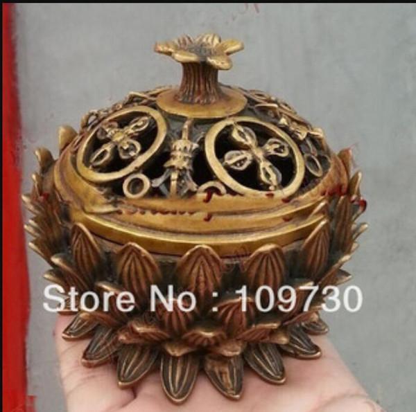 Freies Verschiffen chinesische Sammlung Alte Bronze Lotus Statuen kostbaren Glück Weihrauch Brenner