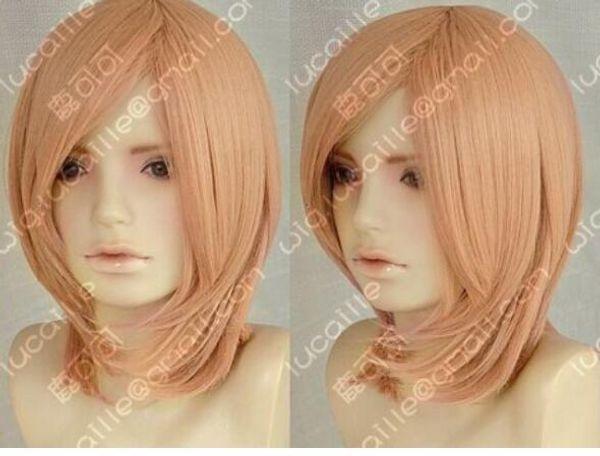 ÜCRETSIZ NAKLIYE + + + şeftali pembe peruk kapatmak için yüksek sıcaklık tel yüz cosplay peruk kısa kadın Anime