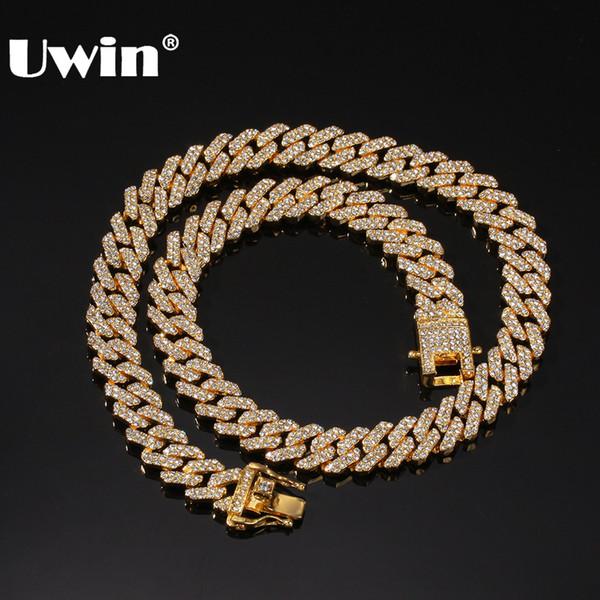 vente en gros Micro 12mm goudronnées S-Link Miami Cuba Colliers Hiphop Hommes Iced strass Bijoux Goutte Mode d'expédition