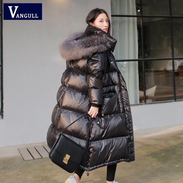 2019 Vangull Black Glossy Women Winter Jacket Big Fur Collar Winter Coat Women Long Down Parka Lady Hooded Parkas Warm Cotton Jackets V191029 From