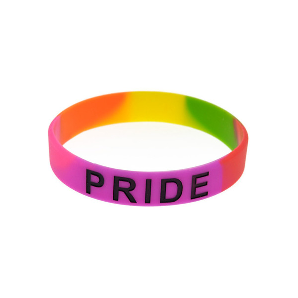 'Pride' Pink Rainbow Color Silicone Bracelet Fashion Environmental Wristband For Women Men LGBT Jewelry Party Gifts Pulceiras