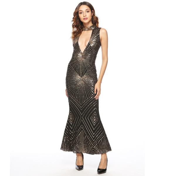 Sexy Women Stand Collar Sleeveless Cut Out Sequin Maxi Dress Geometric Party Mermaid Dress Vintage Baroque Gatsby Flapper Dress