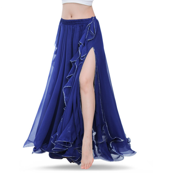 Royal Blue Belly Dance Jupes Oriental Double haute fentes Costume Danse Du Ventre Jupe Pour Femmes Jupe (Sans Ceinture)