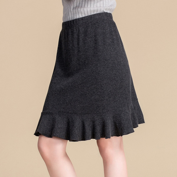 Wholesale Women Real Silk Skirts Empire Knee-length Sexy A-line Skirts Women Anti-peeping Thick Warm Skirts 8104