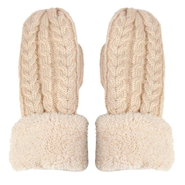 Winter Fur Gloves Women Keep Warm Thicken Cashmere Glove Mitts Women's Mittens Ladies Knitted Full Finger Gloves #YL D19011005