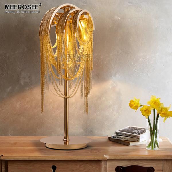 Catena alluminio Retro Gold colori Tabella per le lampade a catena in alluminio Desk Lamp Camera Soggiorno Hotel Table Luster trasporto veloce