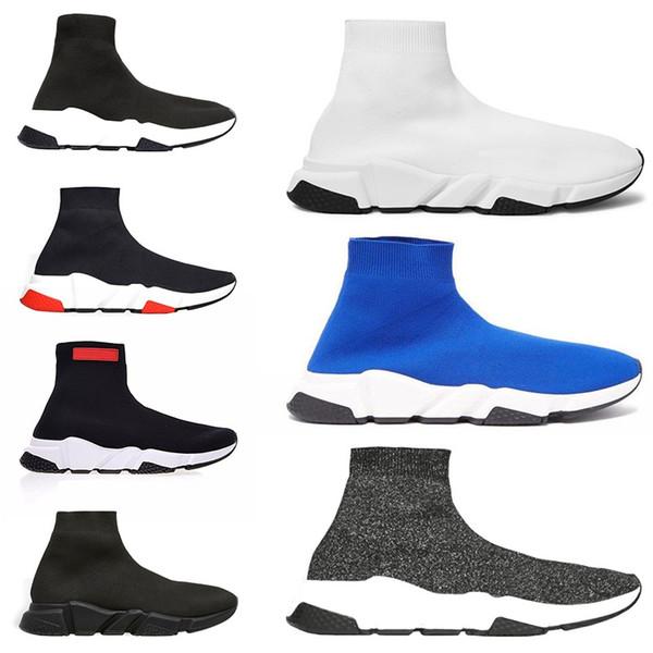 2019 Speed Trainer Luxury Brand Sock For Men Women Running Shoes Black White Red Blue Designer Sport Sneaker Size 5.5-13 Free Shipping