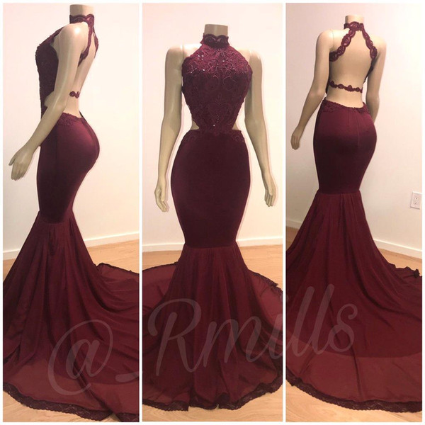 Burgundy Lace Mermaid Prom Dresses High Neck Sexy Backless Formal Evening Gowns Lace Sequins Long Train Cheap Gowns Real Mannequins Bc0805 Sexy Long