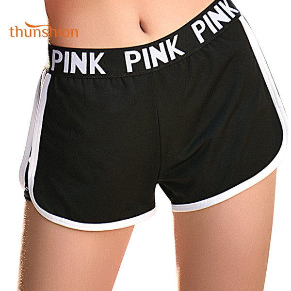 THUNSHION Wholesale Sport Shorts for Women Workout Gym Training Running Yoga Shorts Quick Dry Breathable Loose Elastic Letter #167816