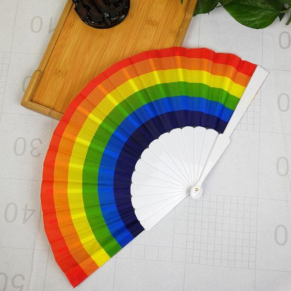 best selling Rainbow Hand Held Folding Fan Silk Folding Hand Fan Vintage Style Rainbow Design Held Fans For Birthday Graduation Holiday RRA1347