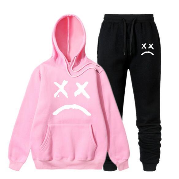 Yeni eşofman erkekler Iki Parçalı Hoodies + Pantolon Güz / Kış Lil Peep Hoodies Tişörtü Takım Erkek koşu Eşofman QJT10