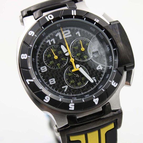 Luxury Brand Quickster T048 Round T-Race 1853 Chronograph Quartz Japan Black And Yellow Rubber Strap Men Watch Wristwatches Mens Watches