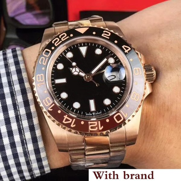 New Rose gold GMT2 Listed V3 Version Batman mens watch automatic movement Ceramic Rotating Bezel sapphire glass steel strap wristwatch