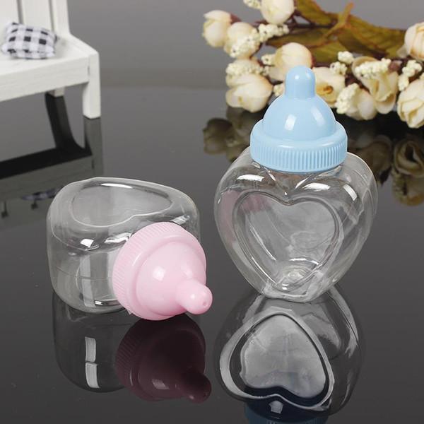 Großhandel 12 PCS / Beutel-Plastikherz-Süßigkeits-Flaschen-Hochzeits-Bevorzugungs-Geburtstags-Baby-Dusche Gfit Flasche Freies Verschiffen