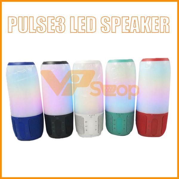 2019 Pulse3 LED Haut-parleur sans fil Bluetooth Super Bass Stéréo Haut-parleur Haut-parleur sans fil Acoustique Portable Mini-caisse de sons extérieure Subwoofer