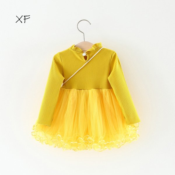 Girl dress spring 2018 new style baby dress foreign style Korean version of children's lace princess dress 3pcs/lot