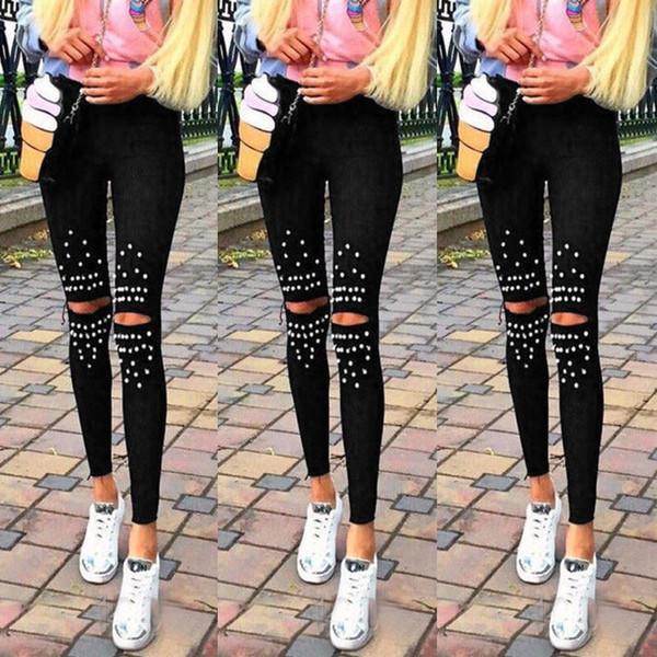 Artı Boyutu Tayt Diz Delik Tayt 2018 Yeni Moda Streç Kesim Delik Boncuk Dekorasyon Kadın Pantolon Sıska Yüksek Bel