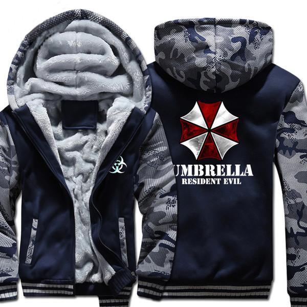 [XHTWCY] New Hiver chaud Resident Evil 6 Sweats à capuche Jeu parapluie épais manteau à capuchon hommes Zipper cardigan casual Sweat Jacket