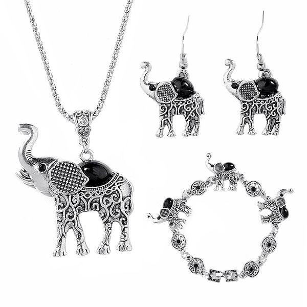 grazioso set di gioielli elefante per donna Set di gioielli retrò bohémien La piccola collana in lega orecchini collare Set di gioielli animali