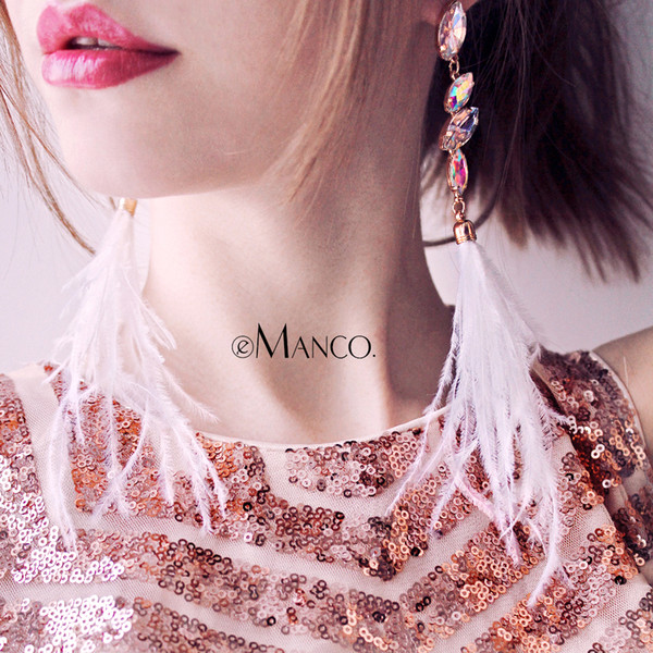 feather for women eManco Bohemian Dangle Drop Ostrich Feather Earrings for women Statement Tassel Earring Summer Beach Jewelry