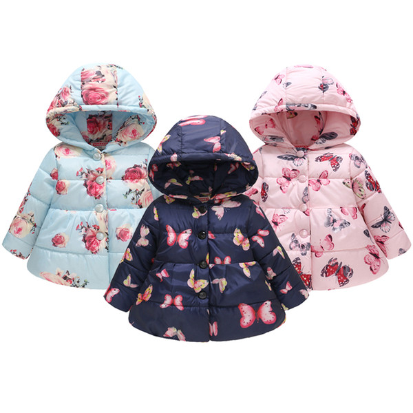Cute Baby Kids Girls Hooded Winter Warm Coat Thick Jacket Outerwear Clothes 2-6T