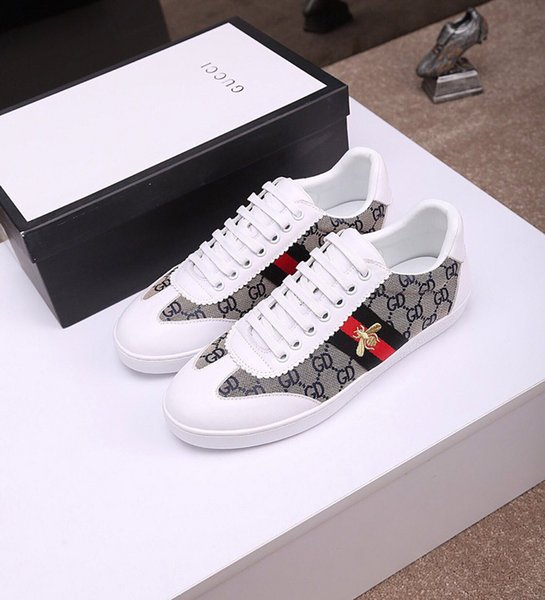 New Embroidery Snake Small bee Tiger head White Low Cut Men Women Sneakers Loafers Fashion Casual Flat Shoe Unisex Desiger Luxury Shoe