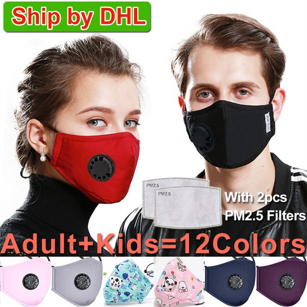 top popular Washable Face Mask Anti-Dust Reusable PM2.5 Masks with 2 filter valve protective cotton children Kids face masks cloth washable boys 2020