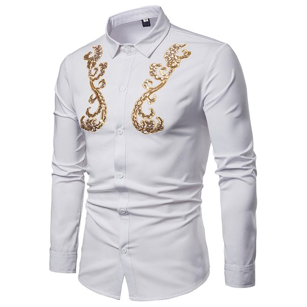 White Sequin Shirt Men 2019 Brand New Long Sleeve Mens Dress Shirts Wedding Party Prom Shirt Male Camisa Social Masculina XXL