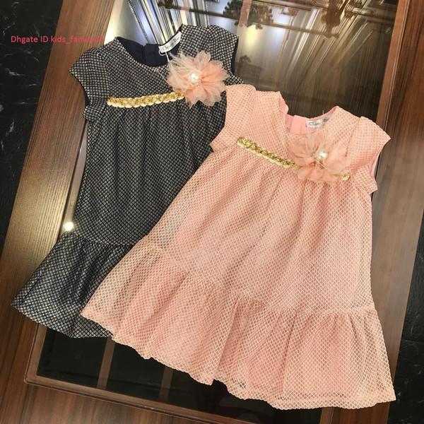 Girls dress kids designer clothing autumn water soluble flower stitching bright gold line dress chest pearl design drape dress
