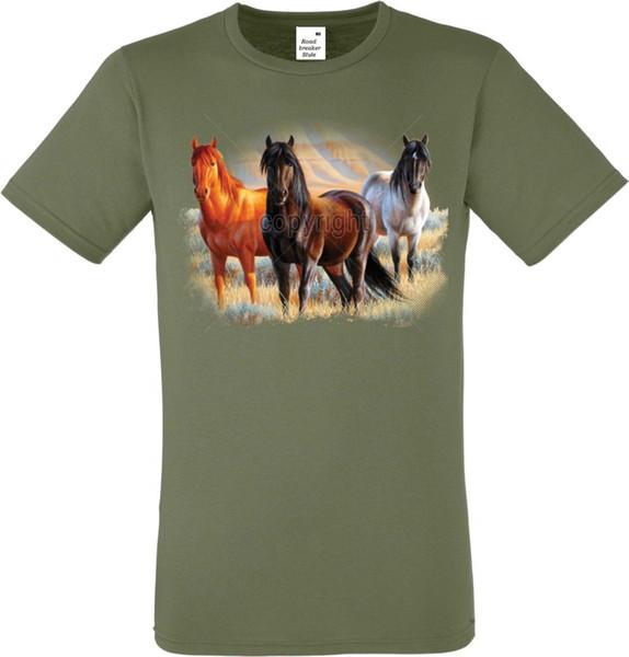 T Shirt in Olivton mit einem Pferde Tier-/Naturmotiv Modell Three Horses Funny free shipping Unisex Casual tshirt