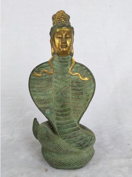 Rare vieux Chinois en bronze doré à la main déesse de ciel rapiéçage statue figure de décoration de la maison Sculpture