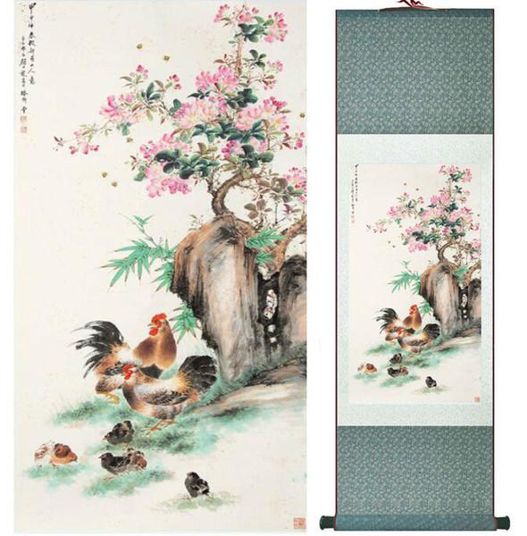 Famiglia di pollo Yanbolong sotto l'albero del fiore Pittura Home Office Decorazione Pittura Soggiorno No.033114
