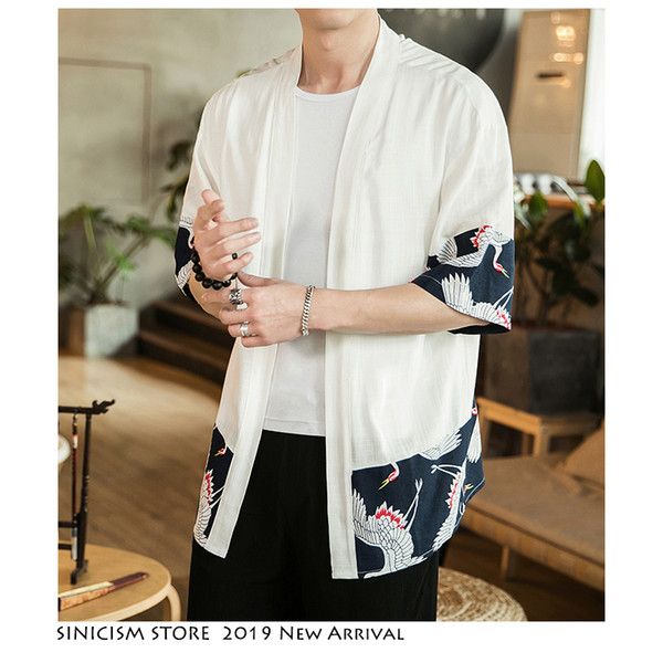 Sinicism Store Mens Print Chinese Style Jacket Streetwear 2019 Patchwork Casual Jackets Men Open Stitch Vintage Male Jacket 5XL
