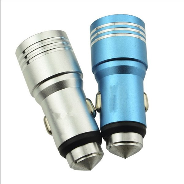 Dual USB Car Charger Aluminum Alloy Safety Hammer 5V 2A Metal Chargers Adapter Universal for iPhone iPad Cellphone 100pcs