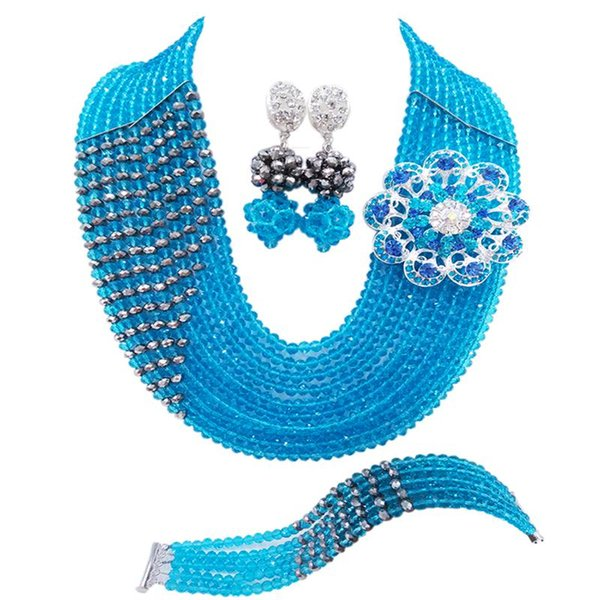New Design Lake Blue Silver Plated Fashion Crystal Women Party Beads Necklace Earrings Sets 10C-CJZ-29