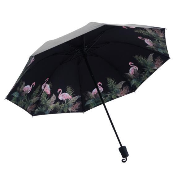 Flamingo All Weather Umbrella Ultraviolet Proof Sunshade Tri Folded Bumbershoot Thick Rod Summer Sombrilla Portable for women