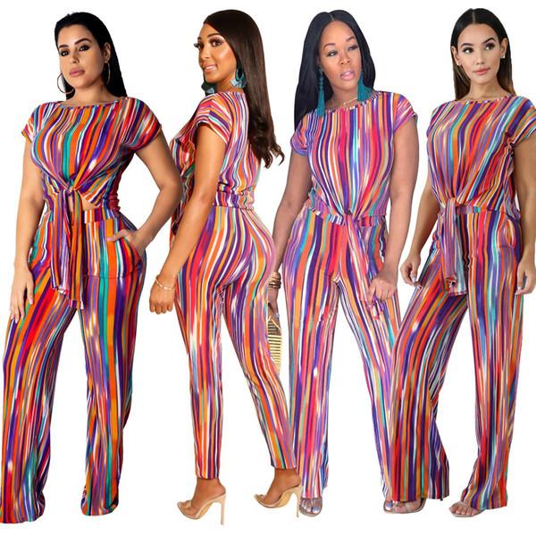 Полосатый сексуальный комплект из двух частей летняя одежда для женщин Наряды галстук-бабочка Crop Top + брюки спортивные костюмы Фестиваль соответствующие наборы