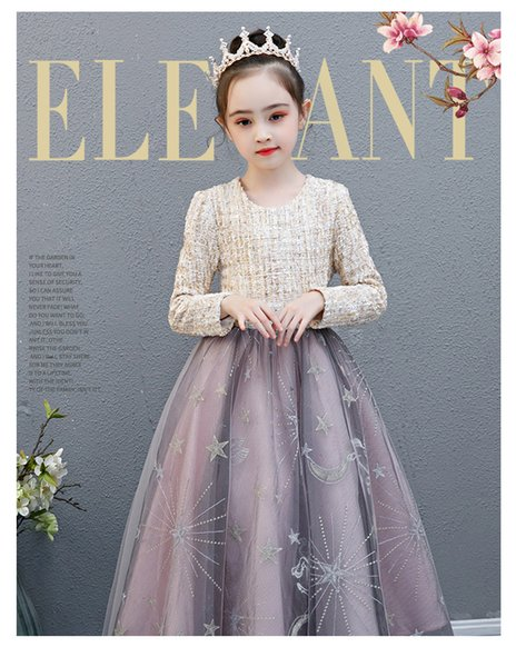 Girls' princess skirts, big children's dresses, western style dresses, spring and autumn dresses, new flower girl performances, fluffy skirt